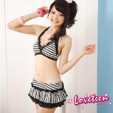 【LOVETEEN 夏之戀】黑白蕾絲比基尼二件式泳衣A0715+A0716