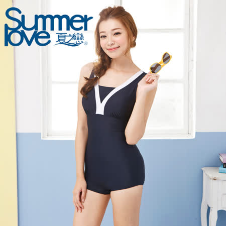 【SUMMERLOVE 夏之戀】競泳V領連身四角泳衣E14738