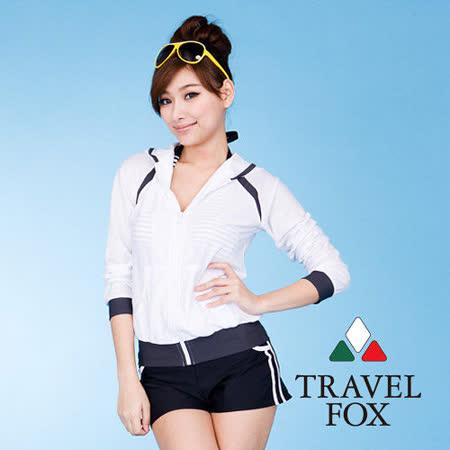 【TravelFox 旅狐】連帽外搭長袖罩衫C9723
