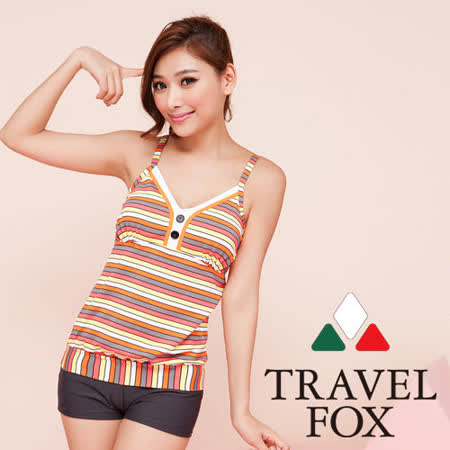 【TRAVELFOX 旅狐】新潮運動風二件式泳衣C13719