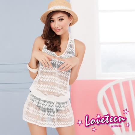 【LOVETEEN 夏之戀】時尚緹花抽皺罩衫連身裙A13735-白