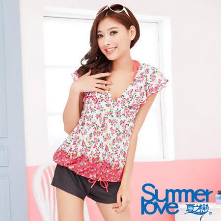 【SUMMERLOVE 夏之戀】優雅玫瑰時尚四件式泳衣E13737