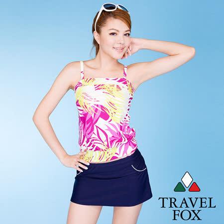 【TRAVELFOX 旅狐】棕櫚葉長版三件式泳衣C12723
