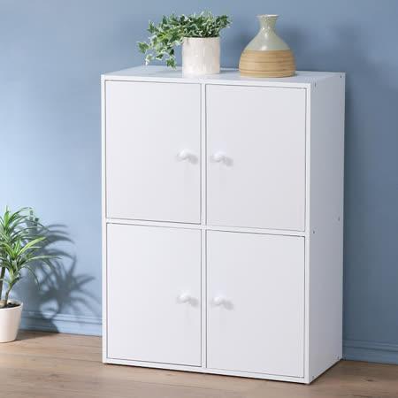 《Homelike》現代風二層四門置物櫃(三色)