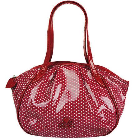 agnes b. ab 愛心立體logo點點漆皮邊小手提包(紅)