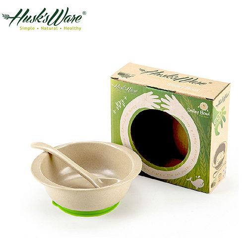 ~美國Husk's ware~稻殼天然無毒環保兒童小餐碗^(附小湯匙^)~綠色