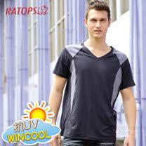 【RATOPS】WINCOOL 男款 輕量透氣彈性涼感衣.短袖圓領T恤.運動休閒衫.防晒衣.排汗衣/ DB8530 黑色