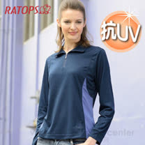 【RATOPS】女款 Coolmax 抗UV薄長袖翻領休閒衫.防曬衣 / DB8446 暗藍色