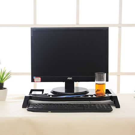 創意桌面螢幕桌上架/收納整理架(黑色)