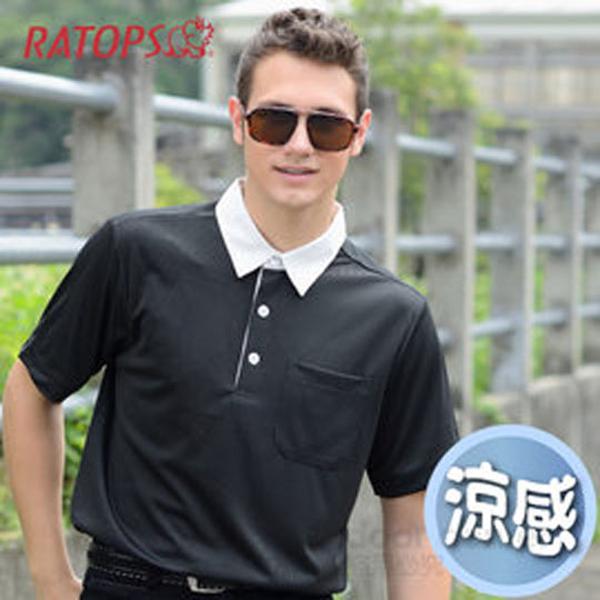 【RATOPS】男款 THERMOCOOL 排汗休閒短袖平織領POLP衫.防晒衣.排汗衣/ DB8483 黑色