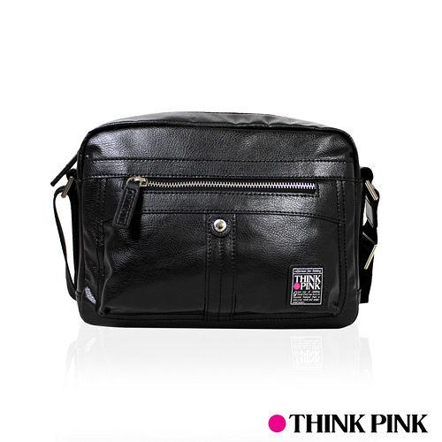 ~THINK PINK~暗黑騎士系列 科技皮感 小型斜背包 ^(黑^)