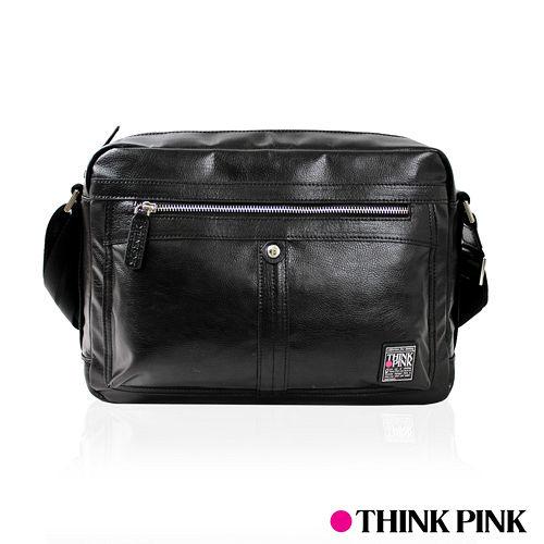 ~THINK PINK~暗黑騎士系列 科技皮感 大型斜背包 ^(黑^)