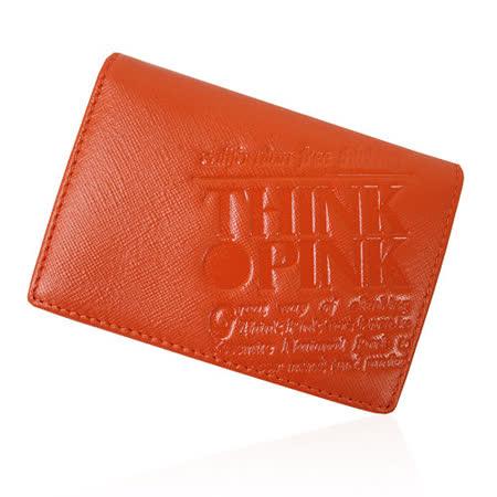 【THINK PINK】REAL SOUL 幻彩十字紋系列 名片夾(橘)