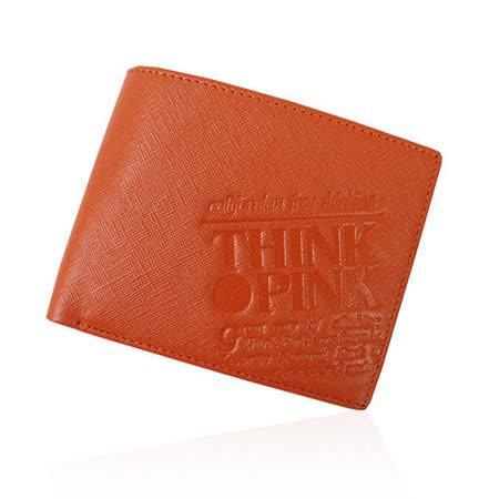 【THINK PINK】REAL SOUL 幻彩十字紋系列 對折短夾(橘)