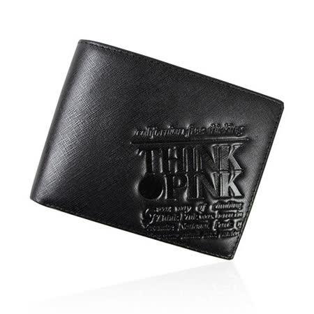 【THINK PINK】REAL SOUL 幻彩十字紋系列 雙折短夾(黑)