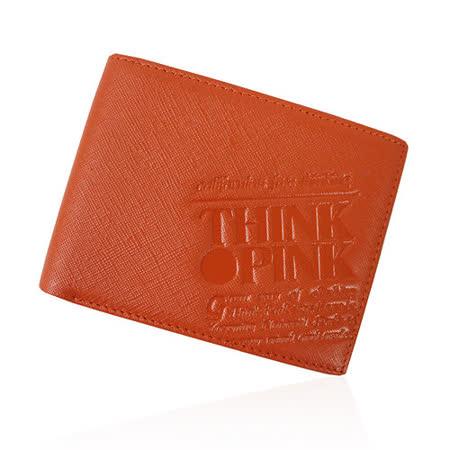 【THINK PINK】REAL SOUL 幻彩十字紋系列 雙折短夾(橘)
