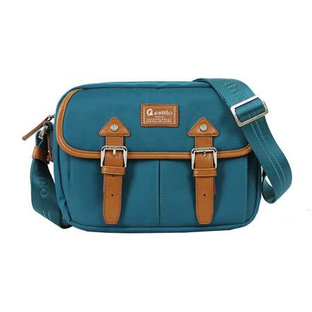 【estilo】學院系列 典雅風範 小型斜背包(藍綠)