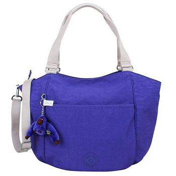 kipling 拉鍊肩背包(紫藍/白背帶/毛絨星星吊飾) _301022-26