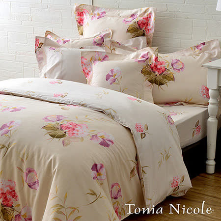 Tonia Nicole東妮寢飾芙夏花戀100%精梳棉兩用被床包組(雙人)