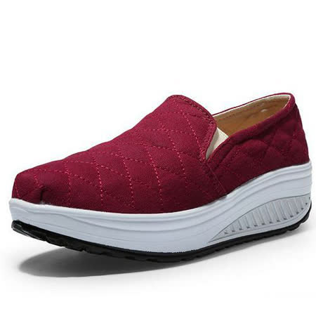 【Maya easy】增高搖擺鞋 車格紋 套腳式 懶人學生鞋(酒紅色)