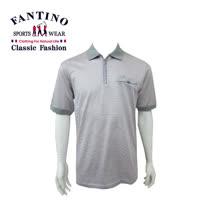 【FANTINO】男款 80支雙絲光polo棉衫 (粉灰細橫條) 431344