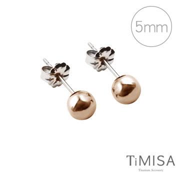 【TiMISA】極簡真我(5mm) 純鈦耳針一對 (2色可選)