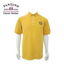 【FANTINO】男款 可翻領圖騰刺繡 polo衫 (黃) 331150