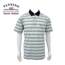 【FANTINO】 男款休閒悠活棉橫紋POLO衫 (淺綠) 431109