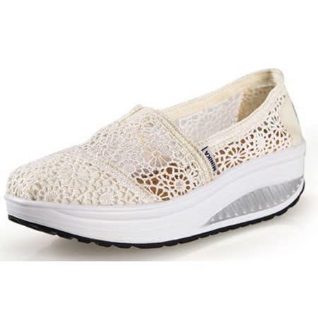 【Maya easy】增高搖擺鞋夏季綿質蕾絲透氣款華麗上市(米白色) 休閒鞋 布鞋-35-40號