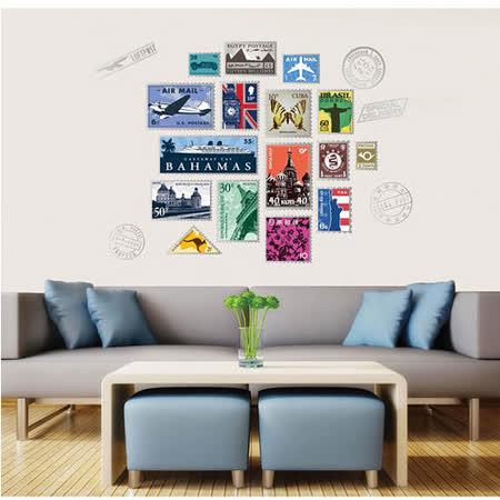 時尚壁貼 - 郵票牆貼