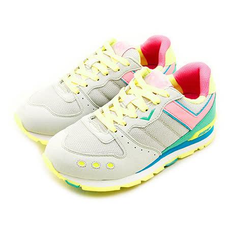 【PONY】女 繽紛韓風復古慢跑鞋 YORK 靚亮耀眼系列 灰黃綠 51W1YK61SY