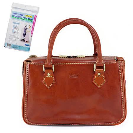 SIKA義大利時尚真皮手提MAMA包M6016A-01/原味褐+贈《拉鏈式》衣物防塵套X1包