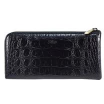 SIKA義大利時尚牛皮壓鱷魚紋拉鍊長夾S8299-03質感黑