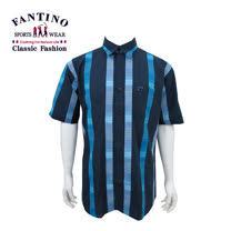 【FANTINO】男裝 純棉線條格紋風襯衫 (藍) 334518