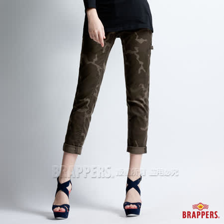 【BRAPPERS】 女款 Boy Firend Work系列-女用彈性九分反摺工作褲-迷彩