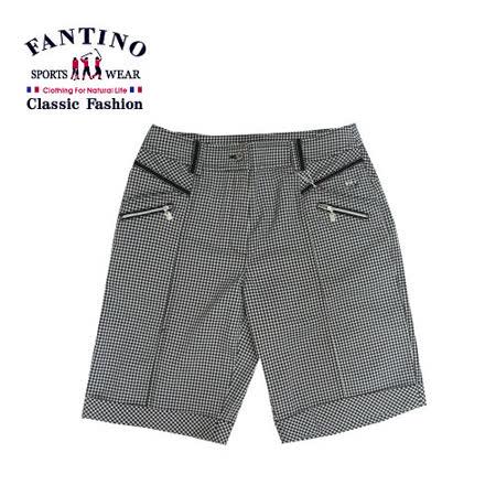 【FANTINO】女款時尚千鳥格紋休閒五分褲 473101