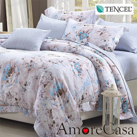 【AmoreCasa】盛開花朵 100%TENCEL天絲加大四件式被套床包組