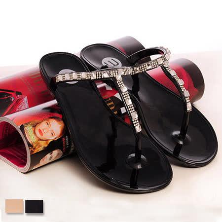 《JOYCE》 文藝女鞋T型水晶果凍2WAY雨鞋通勤平底鞋