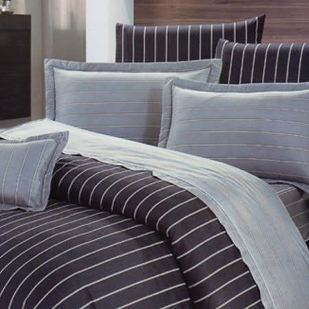 《KOSNEY 》風範典雅(頂級加大AB花版活性精梳棉六件式床罩組台灣精製)