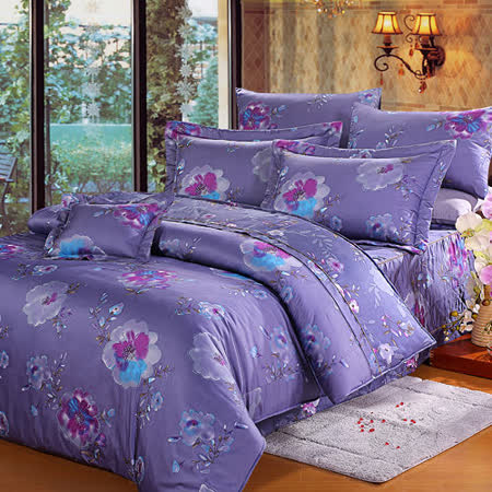 《KOSNEY 媚彩花語 》特大100%天絲TENCEL八件式兩用被床罩組