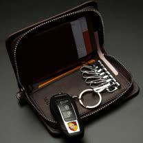 PUSH! 男士多卡位零錢鑰匙包頭層牛皮拉鍊零錢包精品生日禮物push06
