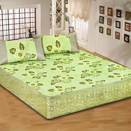 《KOSNEY 綠彩》雙人床包式亞藤蓆3件組台灣精製