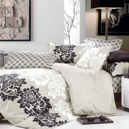 《KOSNEY 古典風雅》特大精梳棉四件式兩用被床包組