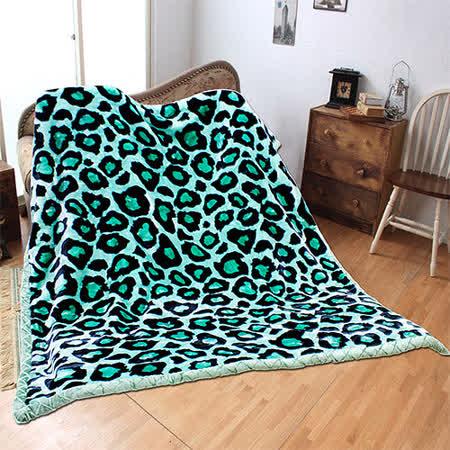 《KOSNEY-綠意豹紋》頂級日本新合纖雙層舒眠毛毯180*210cm