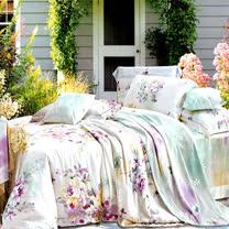 《KOSNEY愜意美景》特大100%天絲TENCEL四件式兩用被床包組