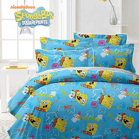 《KOSNEY 海綿寶寶-藍》授權卡通單人三件式活性精梳棉兩用被床包組台灣製造