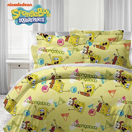 《KOSNEY 海綿寶寶-黃》授權卡通單人三件式活性精梳棉兩用被床包組台灣製造