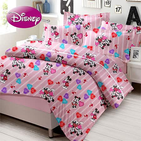 《KOSNEY 迪士尼戀愛標籤》授權卡通單人三件式活性精梳棉兩用被床包組台灣製造