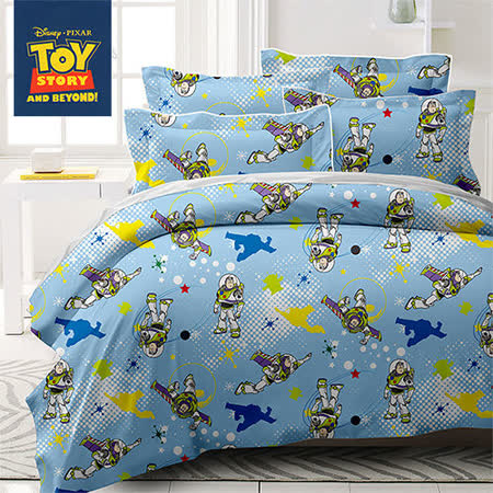 《KOSNEY 玩具總動員-飛向月球》授權卡通單人三件式活性精梳棉兩用被床包組台灣製造