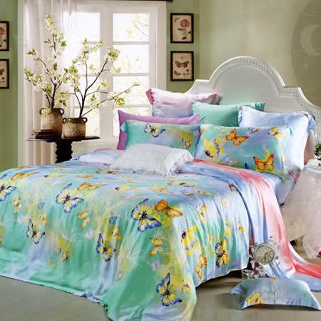 《KOSNEY  蝴蝶紛飛》雙人100%天絲TENCEL四件式兩用被床包組